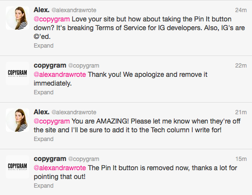 copygram twitter convo alexandrawrote